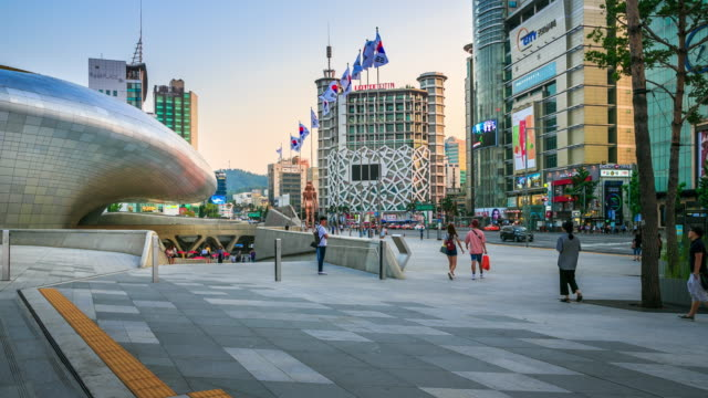 dongdaemun design plaza town - banner sign stock videos and b-roll footage