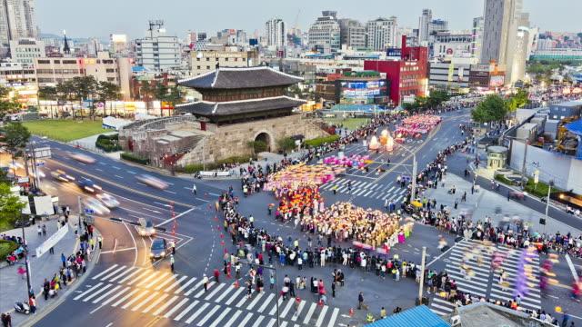 ms t/l dongdaemun street procession on buddha's birthday / seoul, south korea - buddha's birthday stock videos and b-roll footage