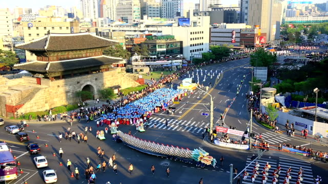 dongdaemun street procession on buddha's birthday (one of the biggest holiday in korea) - buddha's birthday stock videos and b-roll footage