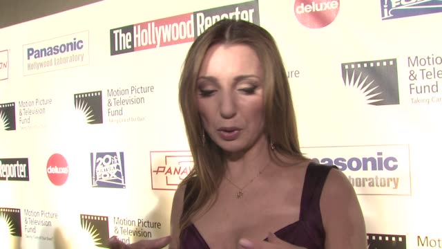 donna murphy on being a part of the evening what she's most looking forward to at the 'a fine romance' to benefit the motion picture television fund... - motion picture & television fund stock videos & royalty-free footage