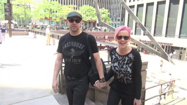 donnie wahlberg and jenny mccarthy leaving siriusxm satellite radio in celebrity sightings in new york, - ジェニー・マッカーシー点の映像素材/bロール