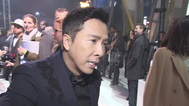 interview donnie yen on working with vin diesel the global cast in the film and being in 'rogue one' at xxx return of xander cage premiere european... - vin diesel stock videos and b-roll footage