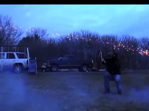 don't try this at home amateur stuntman wannabe faces off against some powerful fireworks with only a garbage can lid as his shield fail - oblivious stock videos & royalty-free footage