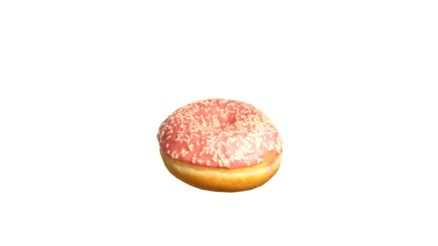 donut with strawberry spinning and rotating isolated on white background food suspended in the air - doughnut stock videos & royalty-free footage