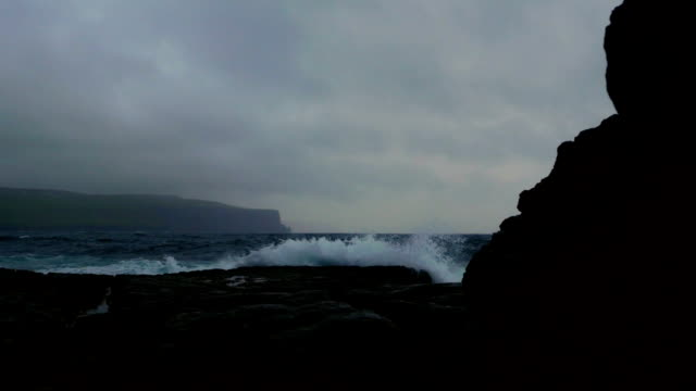 doolin coastline and cliffs of moher at bad weather - doolin stock videos & royalty-free footage