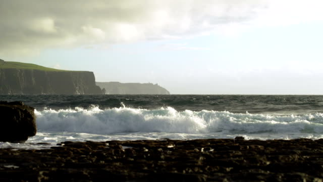 doolin coastline and cliffs of moher at stormy weather - extreme terrain stock videos & royalty-free footage