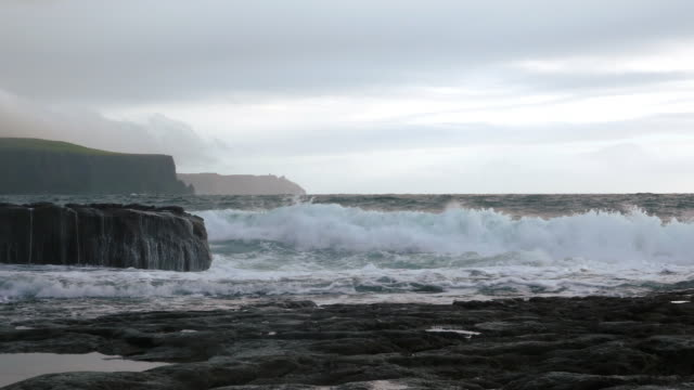 doolin coastline and cliffs of moher at stormy weather - doolin stock videos & royalty-free footage
