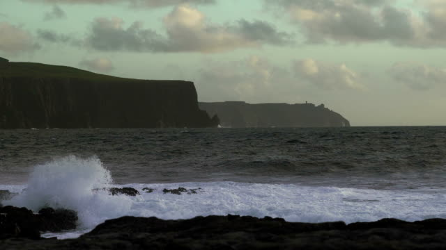 doolin coastline and cliffs of moher at strong wind - doolin stock videos & royalty-free footage