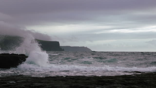 doolin coastline and cliffs of moher in stormy weather - doolin stock videos & royalty-free footage