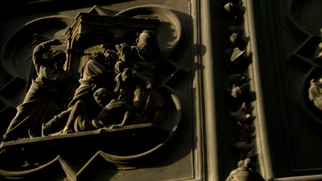 a door in florence features intricate bas relief carvings. available in hd. - bas relief stock videos & royalty-free footage