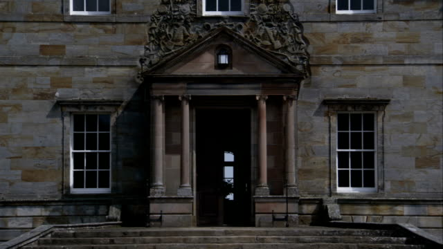 a door into kinross house stands ajar. available in hd. - ajar stock videos & royalty-free footage