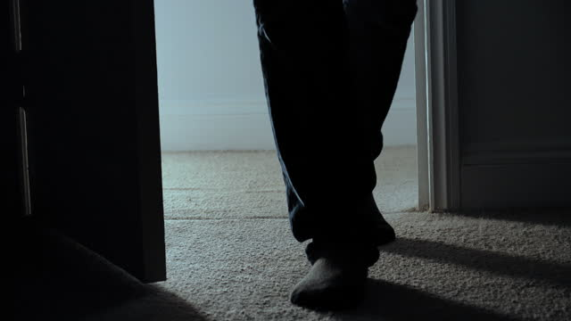 door opening, feet close up - ominous stock videos & royalty-free footage