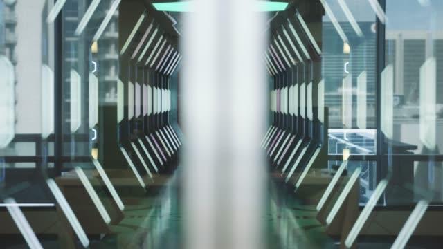 door opening in empty spaceship corridor - door stock videos & royalty-free footage