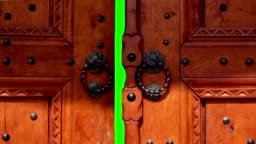 Door opening with chroma key. Door for transition to new video