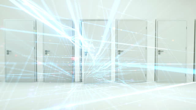 door opening with data particles in digital environment - time machine stock videos & royalty-free footage