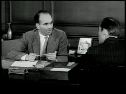 door sign committee for freedom of north africa istiqlal party int office w/ elabid bouhafa talking to unidentified man sot explaining istiqlal... - 1951 stock videos and b-roll footage