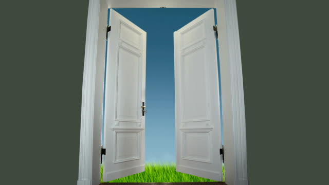 door to spring meadow - doorway stock videos & royalty-free footage