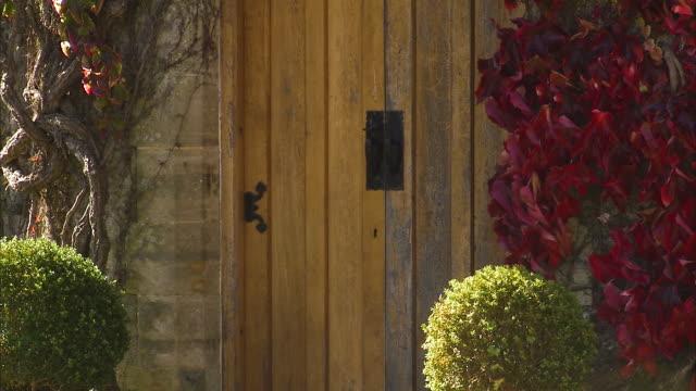 a door with bushes of leaves and plants - れんが造りの家点の映像素材/bロール