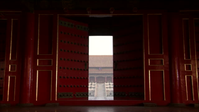 doors of the hall of supreme harmony in the the forbidden city open.  - forbidden city stock videos & royalty-free footage