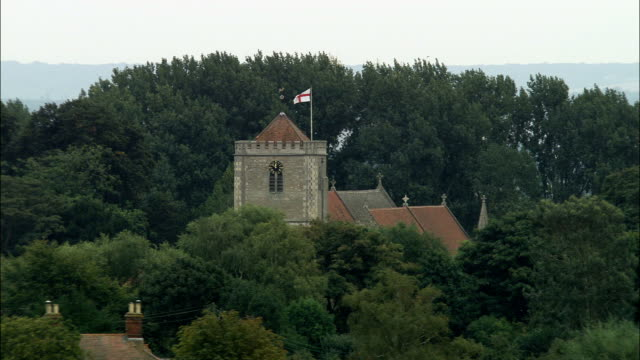 dorchester abbey  - aerial view - england, oxfordshire, south oxfordshire district, united kingdom - england stock videos & royalty-free footage