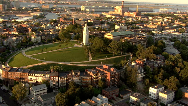 aerial, dorchester heights monument, boston, massachusetts, usa - american revolution stock videos & royalty-free footage