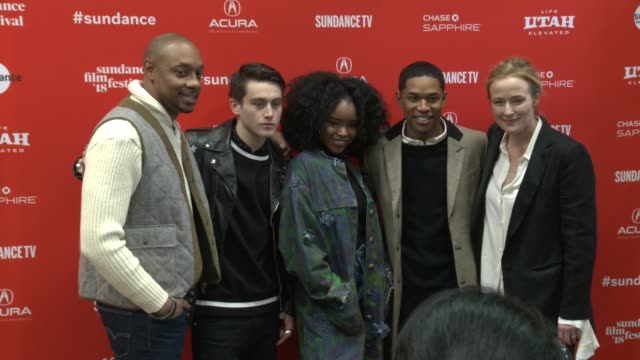 Dorian Missick Liam Obergfoll Lovie Simone Kelvin Harrison Jr and Jennifer Ehle at the 'Monster' World Premiere 2018 Sundance Film Festival at Eccles...
