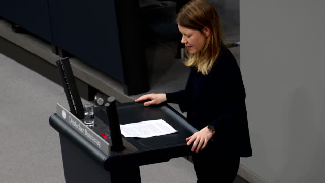 Doris Achelwilm in the Bundestag during the 87th Plenary Session and debate on International Women's Day on March 15 2019 in Berlin Germany