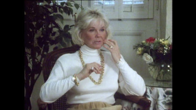 doris day speaking in 1989 regrets wearing fur in her past films and expresses her distaste for fur when i look back and think about it it just... - one woman only stock videos & royalty-free footage