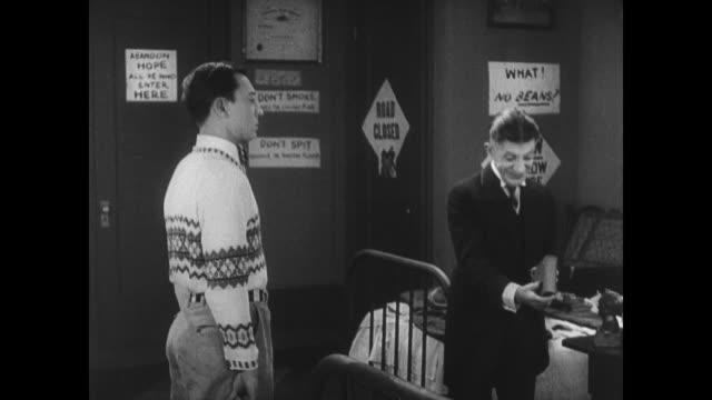 1927 Dorm-mates sour on man (Buster Keaton) when the dean touts his academic abilities