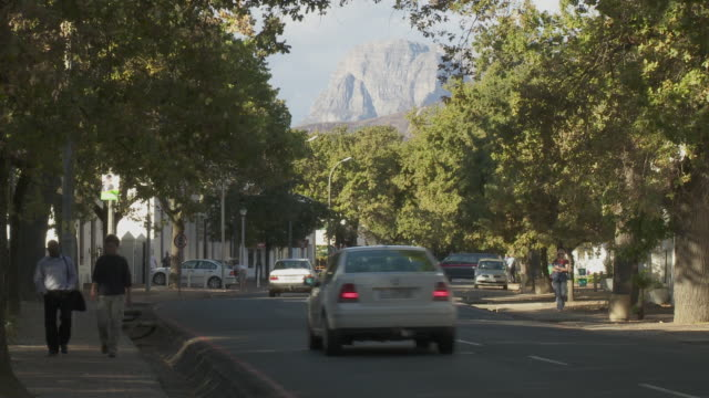 WS Dorp street with mountain backdrop, Stellenbosch, Franschhoek, Western Cape, South Africa