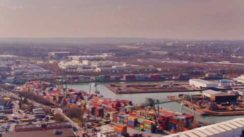 vidéos et rushes de dortmund and its port - aerial view - ruhr