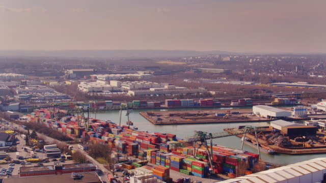 dortmund and its port - aerial view - ruhr stock videos & royalty-free footage