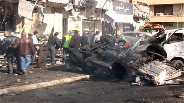 double car blasts rocked the city of beirut near the iranian cultural center lebanon beirut beir hassan car blast on february 19 2014 in beirut... - hezbollah stock videos & royalty-free footage