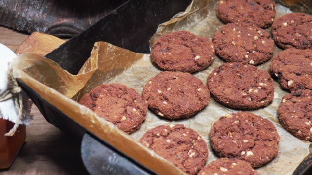 double chocolate cookies with almond - biscuit stock videos and b-roll footage