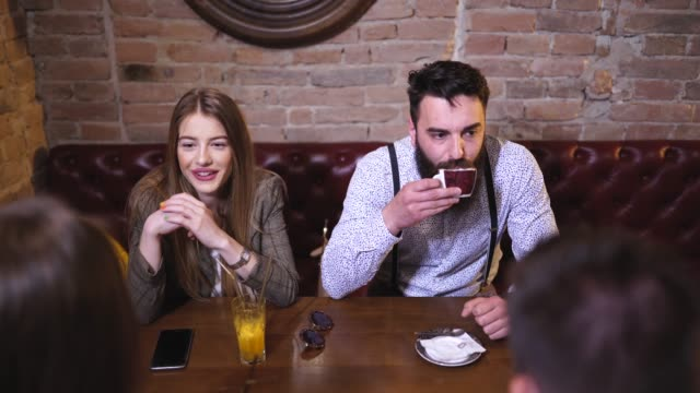 double date in cafe - suspenders stock videos and b-roll footage