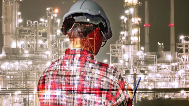 double exposure engineers checking and recording  report oil refinery . mixed media on background. - health and safety stock videos & royalty-free footage