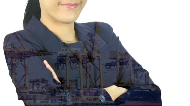 Double exposure image of businesswoman and Container Cargo freight ship