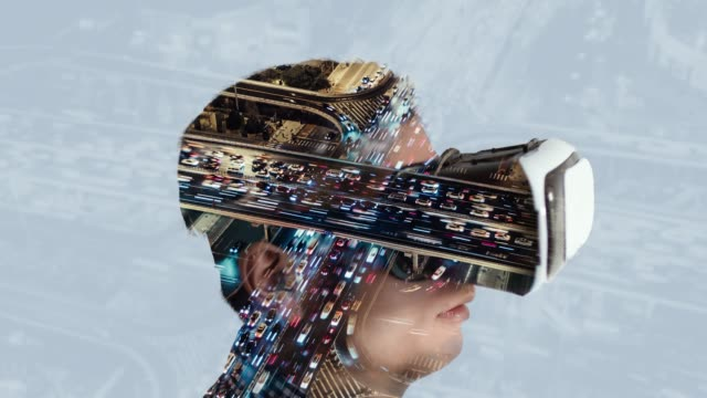 t/l tu double exposure of man wearing virtual reality headset and rush hour traffic - cyberspace stock videos & royalty-free footage