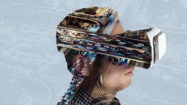 t/l double exposure of man wearing virtual reality headset - futuristic stock videos & royalty-free footage