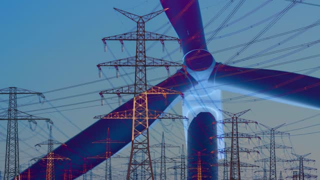 double exposure of wind turbine and electricity pylons - generator stock-videos und b-roll-filmmaterial
