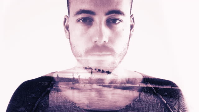 Double Exposure of Young Man