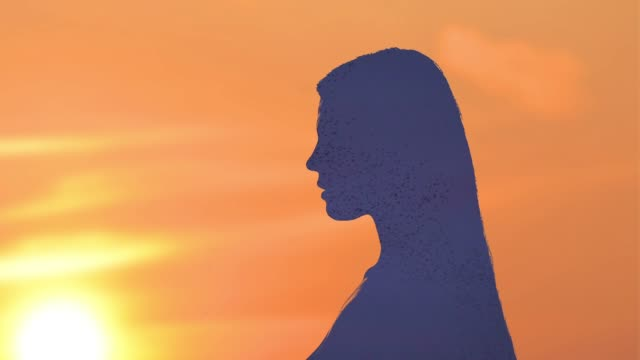 double exposure portrait silhouette - film composite stock videos & royalty-free footage