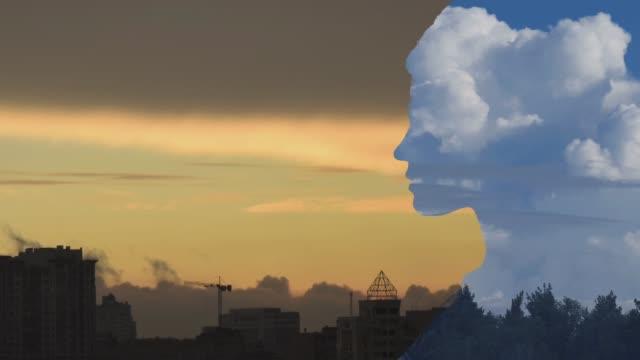 vidéos et rushes de silhouette de portrait à double exposition - respirer