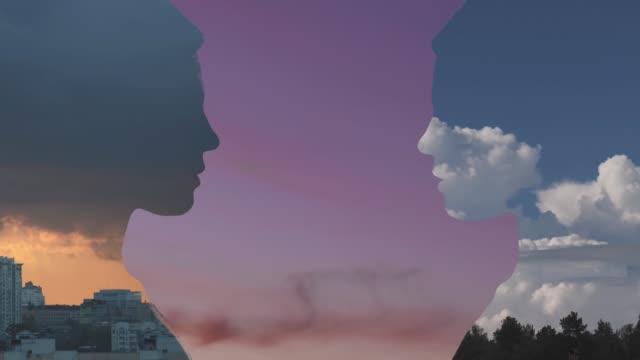 vídeos y material grabado en eventos de stock de retrato de doble exposición - compuesto digital