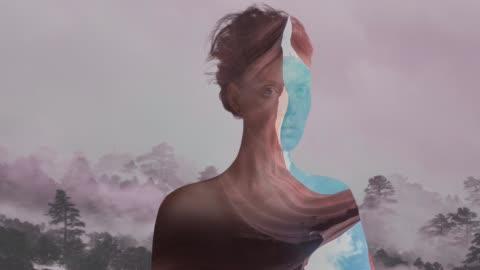 vídeos y material grabado en eventos de stock de retrato de doble exposición - arte
