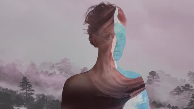 double exposure portrait - the human body stock videos & royalty-free footage