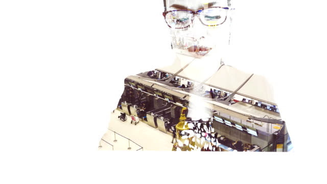 double exposure:businesswoman working with laptop and time lapse crowd traveller at the airport background. - contact lens case stock videos and b-roll footage