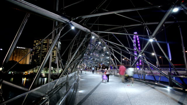 double helix bridge, singapore - footbridge stock videos & royalty-free footage