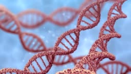 DNA double helix rotating molecules on blue background. 3D rendered animation.