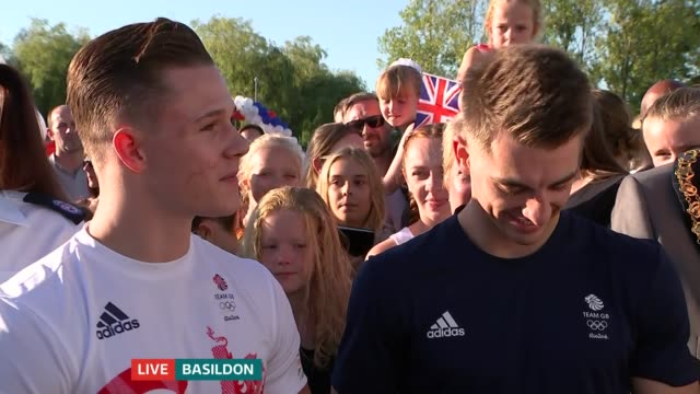 double olympic gold medallist max whitlock returns to basildon gym; bevan and whitlock live interview sot - basildon stock videos & royalty-free footage